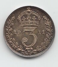 More details for very rare george v 1911 proof silver maundy threepence 3d