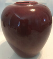 "Chinese Ox Blood 5""  Vase Floral Gold Stems"