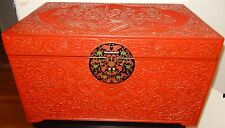 MASSIVE CHINESE FLORAL CARVED CINNABAR LACQUER CLOISONNE ENAMEL TRUNK CHEST BOX