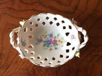 Antique/ Vintage Dresden Lattice Work Raised Flowers Porcelain Mini Basket