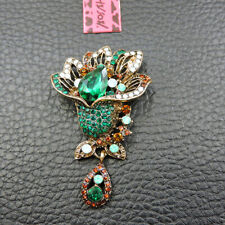 Betsey Johnson Charm Brooch Pin Woman's Green Crystal Rhinestone Rose Flower