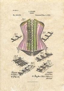 Corset Design Patent art print 1890  Tinted A4 / A5 historic fashion wall art