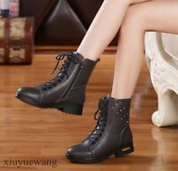 Fashion Womens Punk Shoes Rivet Lace Up Round Toe Motorcycle Boots Low Heel Size