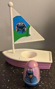 Vintage Hasbro 1982 Sesame Street Weeble Cookie Monster & Sailboat - FREE SHIP!