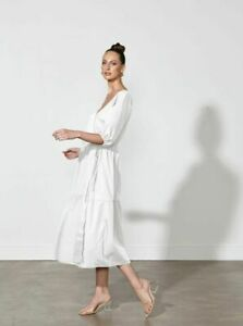 Lazarus Wrap Dress in White by Fate + Becker