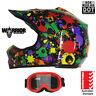 Motocross Dirt Bike Helmet & Goggles, Paint Splatter - Kids/Youth, S-XL, quad
