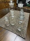 Six Glass apothecary clear jars