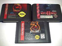 Genuine Mortal Kombat 1 2 3 Games Set x3 Sega Genesis *NTSC-U*