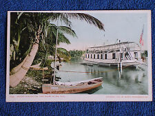 Miami River FL/Houseboat-US Flag/Detroit Photographic Co Printed Color Photo PC
