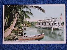 Miami River FL/Houseboat-US Flag/Detroit Photographic Co Printed Color Photo PC