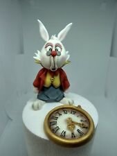White rabbit with pocket watch Handmade edible cake toppers birthday unofficial