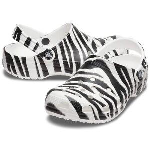 Crocs Classic Animal Print Clog Unisex Zebra Clogs Slippers Mens 9 Womens 11 NEW
