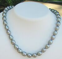 "Vintage Gray Silver Baroque Pearl 15"" Necklace With Sterling Silver Clasp"