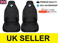BMW LOGO CAR SEAT COVERS PROTECTORS X2 100% WATERPROOF / HEAVY DUTY / BLACK