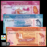 Sri Lanka Set 3 PCS, 20 50 100 Rupees UNC
