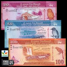 Sri Lanka Set 3 PCS, 20 50 100 Rupees UNC
