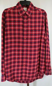Brooks Brothers Mens Red Plaid Long Sleeve Button Down Flannel Shirt Size Med