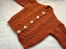 New Hand Knitted Aran Cardigan. 2-3 Years. Copper Coloured Yarn.