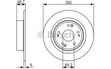2x BOSCH Discos de Freno Traseros Pleno 282mm 0 986 479 738