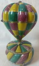Krustallos Hot Air Balloon Rotating Music Trinket Jewelry Box Swarovski 24 kt.