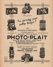 Y9310 Apparecchi fotografici PHOTO-PLAIT - Pubblicità d'epoca - 1936 Old advert