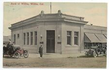 1920 Postcard of the Bank of Willits with Autos at Willits CA