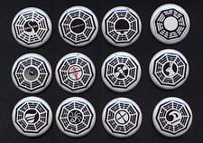 LOST DHARMA TWELVE  badge button pins set  - COOL!