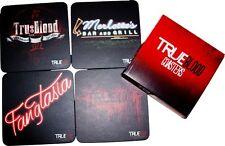 TRUE BLOOD Coasters 4-Pack Fangtasia Merlotte's Bar Grill tru:blood logo NEW BOX