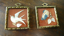 Vintage Pair MINIATURE BIRD PICTURES Hand Carved