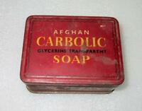 Vintage Old Collectible Afghan Carbolic Soap Advertising Litho Tin Box India