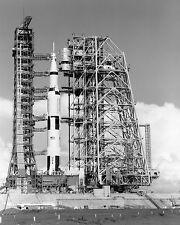 MOBILE SERVICE STRUCTURE APPROACHES APOLLO 11 SATURN V  8X10 NASA PHOTO (BB-131)
