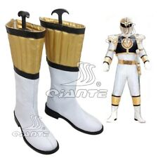 Mighty Morphin Power Rangers White Tigerzord Tommy Cosplay Boots Shoes Halloween