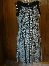 Women's Small Perceptions Black w White Dots Sleeveless Dress Black Trim