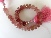 "8"" Natural Pink Strawberry Quartz Faceted Rondelle Beads 7mm to 8mm Beads-GDS929"