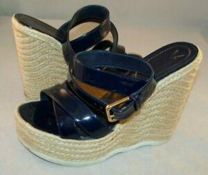 YVES SAINT LAURENT Women's Sandals Shoes Blue Leather Espadrille Size 38 Spain
