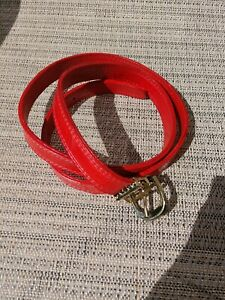 "Eel Skin Belt 1 3/4"" Woman's 36'' Long Red NEW Made in Korea"