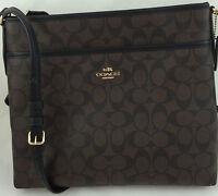 New Coach F58297 File Bag Messenger Crossbody Bag Purse Handbag Brown/Black