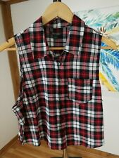 Wild Fable Womens Flannel Shirt Button Down Sleeveless Rayon Red Size Medium