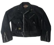 Vintage 80's Harley Davidson Denim Cafe Racer Motorcycle Jacket Mens Small Black