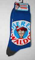 Classic Where's Waldo? Cartoon Character New Tags 1 Pair Blue Socks Fits 6-12