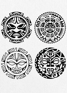 Set of 4 Maori High Quality Temporary Waterproof Tattoos - Women, Men, Kids