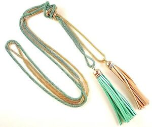 Gold & Turquoise Green Long Double Layer Tassel Hollow Chain Necklace #B322