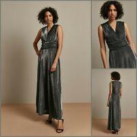 Wallis Maxi DressSize 12   Silver Metallic Wrap Style   BNWT   £75 RRP   New!