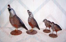 Quail Family Regal Art Father Mother Two Chicks