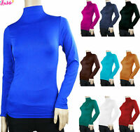SOFT SEAMLESS STRETCH LONG SLEEVE SHIRT TURTLENECK MOCK HIGH NECK TOP SLIM FIT