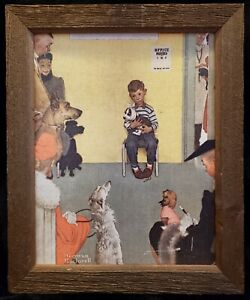 At The Vet's Office By Norman Rockwell Canvas Print Vintage Rustic Wood Frame