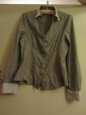 Stretchy Grey Striped Fitted Next Shirt in Size 12 - adjustable sleeves