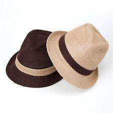 "Men Women Summer Beach Fedora Hat For Unisex w/Linen "" Made In Korea "" 2 Colors"