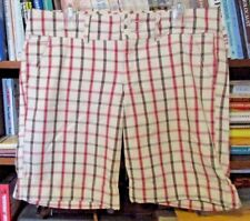 NWOT ABERCROMBIE BEIGE BROWN RED PLAID 100% COTTON CUFFED BERMUDA SHORTS 10