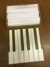 "Piano Keytops Full Set of 52 Satin Ivory (simulated) 2"" Long Head, Grained Look"